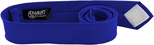 ADAMANT® Royalblaue Designer Krawatte 5cm schmal - TOPQUALITÄT - Moderne Royal Blaue Krawatte / Schlips für Business und Alltag - Royalblau / Blau uni (Royal Blau Kaschmir)