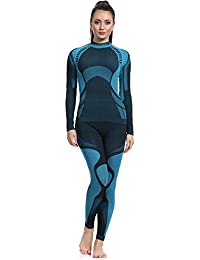 Ladeheid Función Ropa Interior Conjunto Camiseta Manga Larga Calzas Largas para Mujer Thermoaktiv