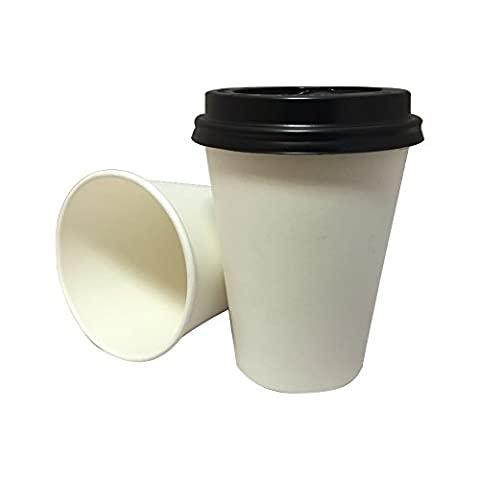 100 x 8oz White Paper Single Wall Disposable Tea Coffee