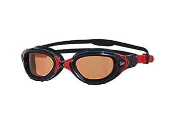 Zoggs Predator Flex Polarized, Occhialini da Nuoto Unisex-Adulto, Nero/Rosso, Taglia Unica