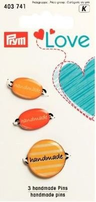 Love Handmade-Pins im 3er-Pack - Farbe: gelb-orange -
