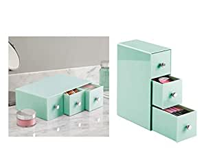 InterDesign Makeup Holder Organiser with 3 Drawer for Dressing Table - Stationary Storage Box for Countertop, Vanity and Bathroom, Mint