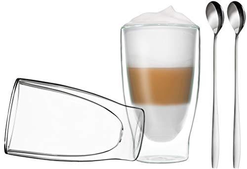 DUOS 2X 400ml doppelwandige Gläser + 2 Löffel - Set Thermogläser mit Schwebe-Effekt, auch für Latte Macchiato, Eistee, Säfte, Longdrinks, Cocktails geeignet, by Feelino Macchiato-set