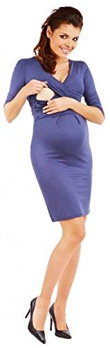 Zeta Ville - maternité - robe jersey de grossesse - robe plissé - femme - 524c Bleu Gris
