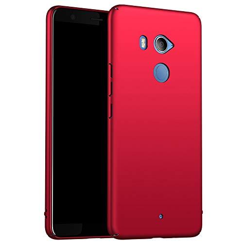 for HTC U11+/U11 Plus Hülle, ZUERCONG [Matte Serie] Ultra Dünn Slim Cover Case Anti-Scratch Shockproof Handytasche Hartplastik Schutzhülle für HTC U11+/U11 Plus, Glattes Rot