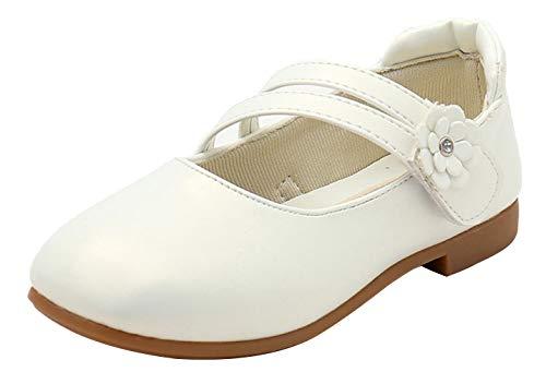 Eozy Kinder Mädchen Ballerinas Schuhe mit Blumen Mary Jane Prinzessin Schuhe Weiß 34EU