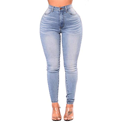 Dorical Damen Hoher Bund Skinny Jeanshose Sporthose Sport Fitness Workout Leggins Dünne Hosen Mode Elastische Dünne Hosen Günstig Kaufen Sale(Hellblau C,Large)