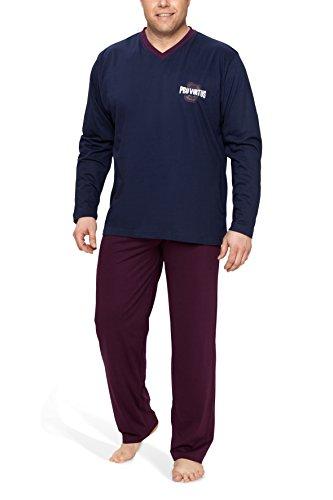 Moonline Plus Schlafanzug Herren lang übergroß aus Baumwolle, Farbe:Navy, Größe:5XL