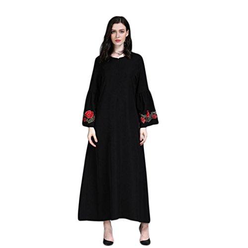 Amphia Damen Muslim Kleid Abend Ball Kleider Lange Maxi Dress Mit Gürtel Lange Ärmel (Himmelblau,...