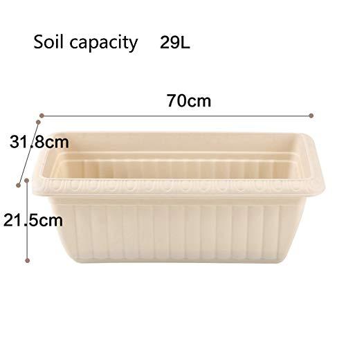 Épaissir Imitation céramique Plastique Grande Rectangle Pot de Fleur Plantation de Pots de Fleurs Balcon Légumes-O 29L
