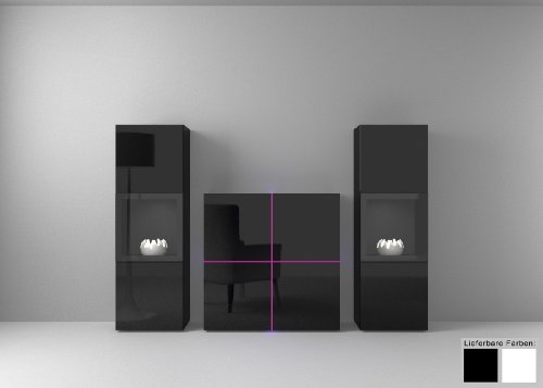 Dreams4Home Wohnkombination Square Vitrine Regalsystem weiß o schwarz hochglanz Beleuchtung, Beleuchtung:ohne Beleuchtung;Farbe:Schwarz