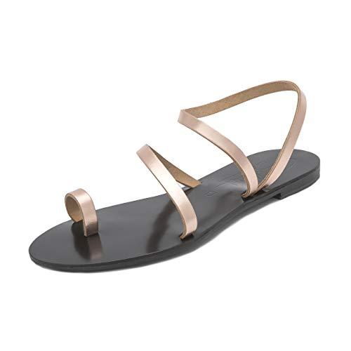 Schmick sandali hekate: scarpe estive donna eleganti bassi gladiatore cuoio fatti a mano, rose oro/nero, 39 eu