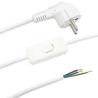 Zuleitung mit Stecker und Schalter Weiß 1,50m Anschlusskabel Netzkabel Stromkabel mit Schnurzwischenschalter und Winkelstecker 3x0,75qmm 250V W Länge 1500mm