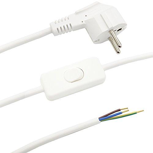 Anschlusskabel 1,50m Weiß für Tischleuchten oder Stehleuchten 3-adrig CE VDE 250V Lampen Zuleitung Schuko-Stecker + Kippschalter Anschlussleitung Kabel anschlussfertig