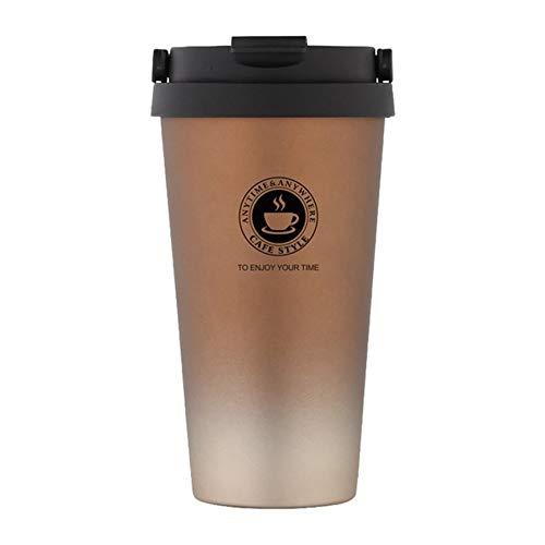 VCB Tragbare Edelstahl-Isolierflaschen Thermobecher Kaffee Tee Wasserflasche - Gold & Braun