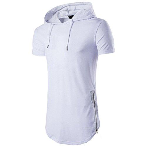 T Shirt Herren, HUIHUI Coole V-Ausschnitt Ärmellos Sweatshirt Slim Fit Basic uv Polo-Shirt Mode Sport Oberteile Oversize Bench Tops Hooded Sommer Freizeit Hemd Poloshirt (M, Weiß)