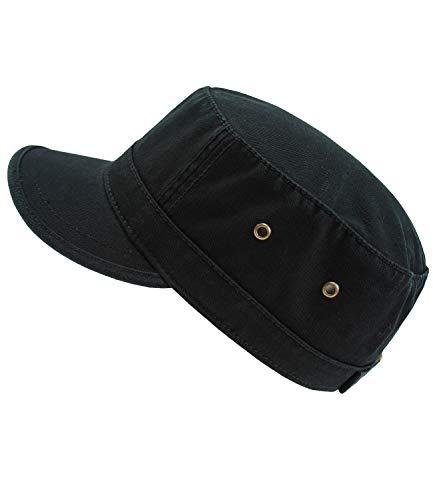 EveryHead Atlantis Herrenurbancap Urbancap Armycap GI Cap Cubacap Tellercap Schirmmütze Schildmütze Sommercap einfarbig für Männer (AL-306-S17-HE0-BLA-L/XL) in Black, Größe L/XL...