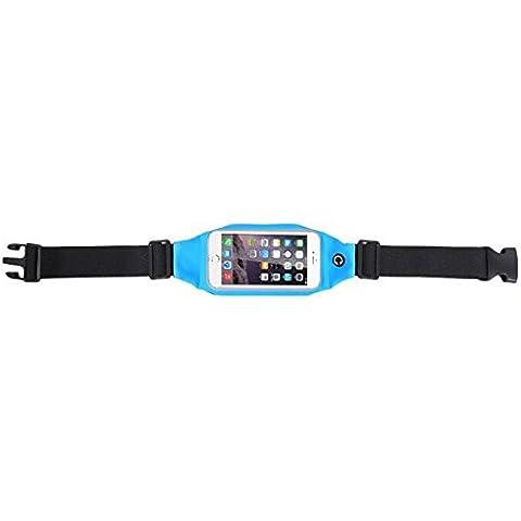 Evtech (tm) [ampliable paquete de la cintura de la correa] hombres y mujeres deportes, funcionamiento y el Movimiento de la aptitud de pantalla táctil visible Teléfono auricular de bolsillo para Hold 5 pulgadas de pantalla (azul)