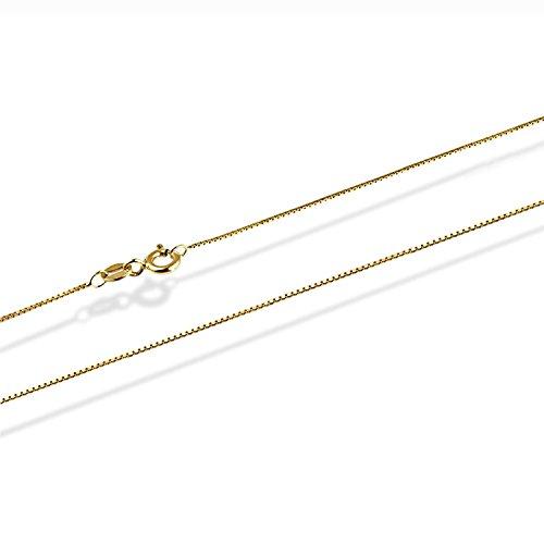 14 Karat / 585 Gold Feine Italienisch Venezianer Box Kette Gelbgold Unisex - Breite 0.75 mm - verschiedene Längen (45) Feine 14k Gold Schmuck