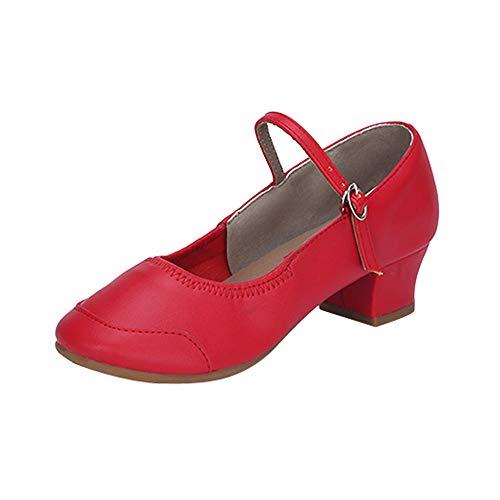 Dorical Damen Mädchen Tanzschuhe/Hoher Absatz Schuhe/Latein-Schuhe/Ballsaal Schuhe für Innen-Tanzen/Tanzschuhe für Halloween Performance-Schuhe Valentinstag Schuhe (Rot,37 ()