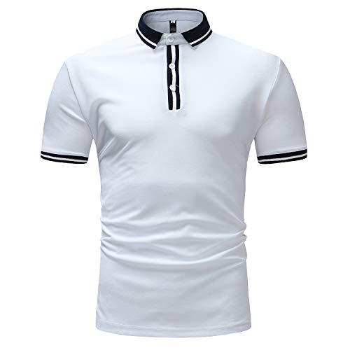 T-Shirt Herren mit Knopf Mode Sommer Geschäft T-Shirts Büro BüroMode Männer Kurzarm O-Neck Slim Fit Hemden Kurzarmhemd