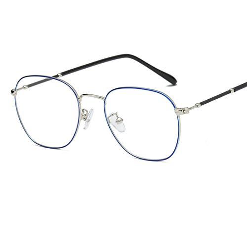 Shiduoli Runde Brillen Brillen Unisex Stilvolle Brillen Brillen ohne Rezept (Color : Blue)