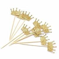 Alcoa Prime 20pcs Bulk Glitter Crown Wood Stick Cake Topper Wedding Party Favor Decor