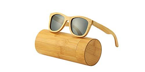 DAIYSNAFDN Echtholz Sonnenbrillen Polarisierte Holz Sonnenbrillen Uv400 Sonnenbrillen Bambus Holz Sonnenbrillen Gray