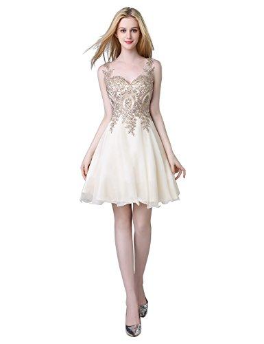 Clearbridal Damen Chiffon kurze Ballkleider Abschlusskleider Partykleider V-Ausschnitt Abendkleider...