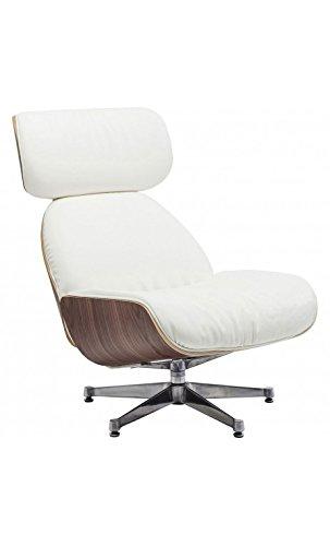 Kare design - Fauteuil pivotant cuir blanc et bois Ponte Uni