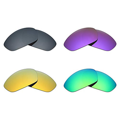 MRY 4Paar Polarisierte Ersatz Gläser für Oakley Gerade Jacke 2007sunglasses-black Iridium/24K Gold/Plasma violett/Smaragd Grün