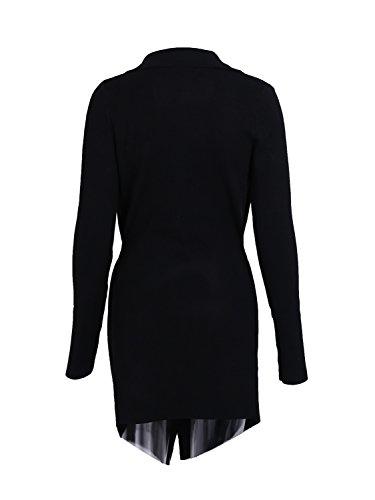 les femmes se simplee long manche en hiver chaud un cardigan Noir