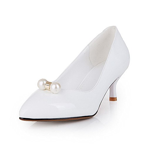 AllhqFashion Damen Rein Pu Mittler Absatz Spitz Zehef Pumps Schuhe Weiß