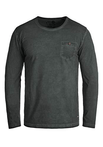 Button Down Long Sleeve Henley (!Solid Tharan Herren Longsleeve Langarmshirt Shirt Mit Rundhalskragen Und Brusttasche Aus 100% Baumwolle, Größe:L, Farbe:Black (9000))