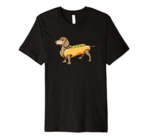 Dackel Wiener Hund w/Hot Dog Kostüm Puppy T Shirt (Hot-dog-kostüm Einem In Hund)