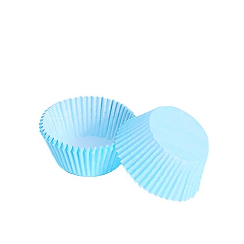 Yaxitu 100Pcs Essbare Mini Farbe Cup Kuchen Papier Ornamente Fällen (Hellblau)