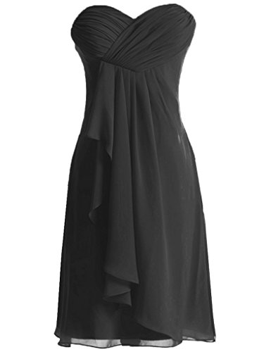 HUINI Damen Kleid Schwarz