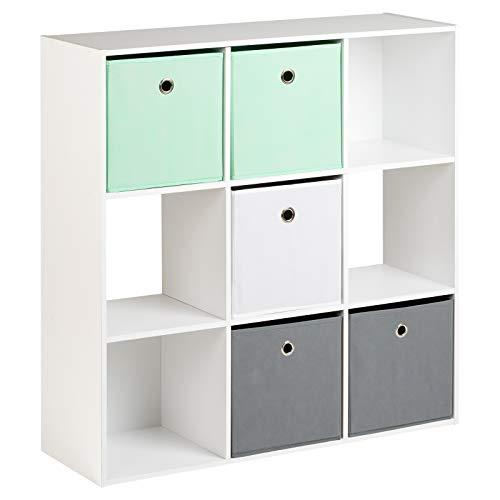Hartleys Würfelregal in Weiß, mit 9Fächern u. 5Schubkästen in Hellgrün, Weiß u. Grau (Würfel Aufbewahrung Möbel)