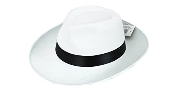 5029ea61904 6 X GANGSTER HAT WHITE FELT WITH BLACK BAND FANCY DRESS COSTUME ACCESSORY  BULK GANGSTER TRILBY FEDORA 1920 S UNISEX MENS   WOMENS  Amazon.co.uk  Toys    ...