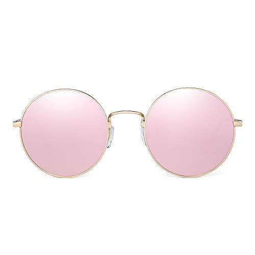 JM Retro Runden Sonnenbrille Metall Flach Spiegel Kreis Stempunk Brillen Damen(Gold/Spiegel Pink)