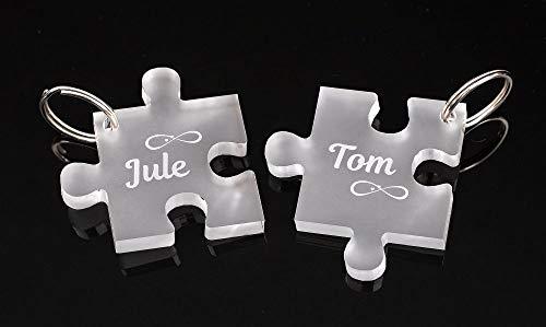CHRISCK design 2 Schlüsselanhänger  Puzzle  mit deiner persönlichen Gravur Spruch oder Namen schöne Geschenkidee zu Weihnachten aus massivem Acrylglas Paare, Freunde Beste Freundinnen Liebe