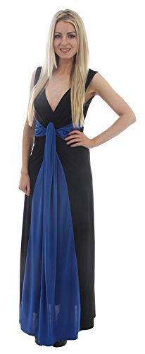 Chocolate Pickle ® Femmes Plus Size Contraste Nouer Illusion Boob Ladies Dress Panel Color Maxi 44-54 Royal Blue