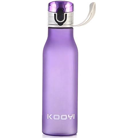 Kooyi Borraccia Sportiva 550 ML, Borraccia di plastica 100% a prova di perdite (porpora) - Policarbonato Bottiglia Di Acqua