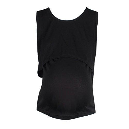 hwangerschafts-T-Shirt Mutterschaftskrankenpflege Stillen Weste Übergröße Vest (Einheitsgröße, Schwarz) (Plus Size Cami Und Kurzes Set)