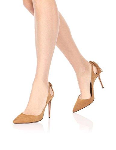uBeauty Femmes Aiguille Talon Stilettos Escarpins High Heels Houppe Chaussures Enfiler Grande Taille Marron