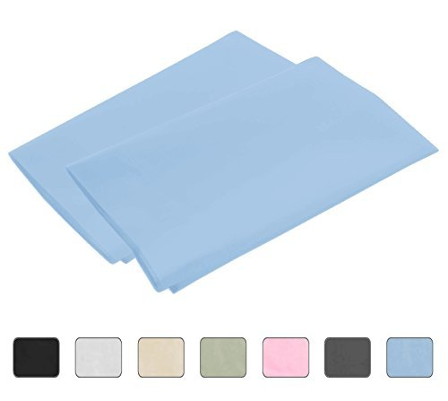 Light Blue Standard 4 Hems Set of 2 Pillowcases 300 Thread Count 100% Long Staple Egyptian Cotton Luxury Hotel Quality 21x32 (fits 20x26) by American Pillowcase