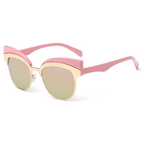 Highdas New Cat Eye Sunglasses Mode f¨¦minine Cateye Lunettes de soleil en m¨¦tal Rose