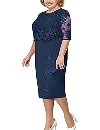 Ansenesna Vestido Fiesta Mujer Vestido Elegante con Encaje, Vestido De Madre De Novia, hasta La Rodilla Y Vestido De Talla Grande