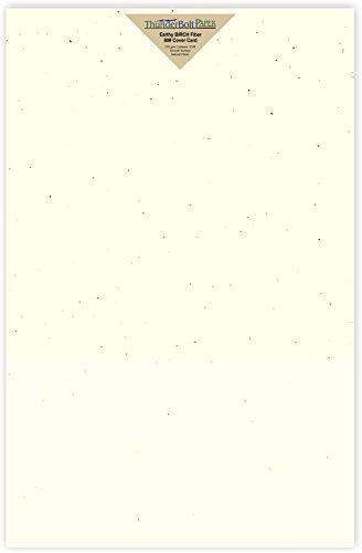 15Erdige Birke Faser 80# Abdeckung Papier Blatt-30,5x 45,7cm (30,5x 45,7cm) large|poster Größe-80Lb/Pfund Karte, Gewicht-Creamy Off White Farbe mit natürlichen Fasern-glatte Finish - Weiße Birke Natürlichen