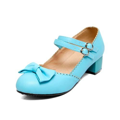 Mary Jane Schuhe für Frauen Heels Bow Knot Chunky Heel Party Hochzeit Casual Pumps Court ()